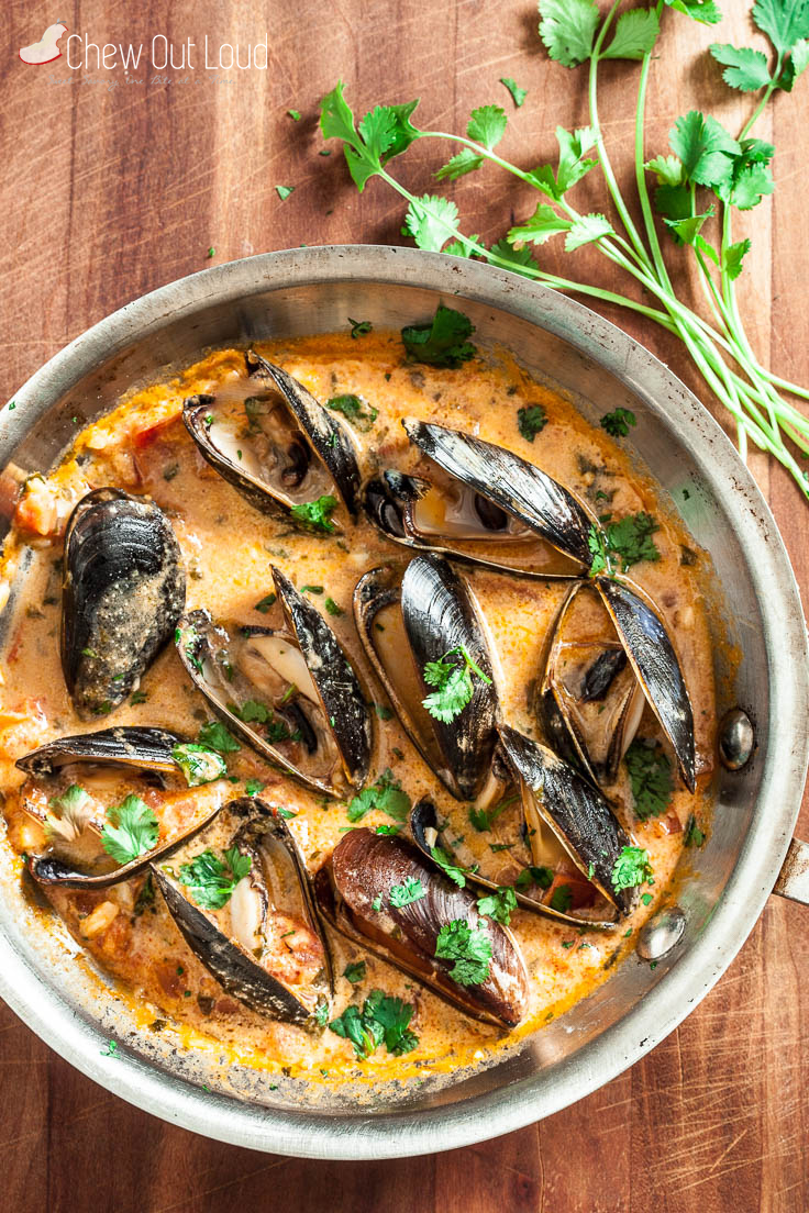 red thai curry mussels