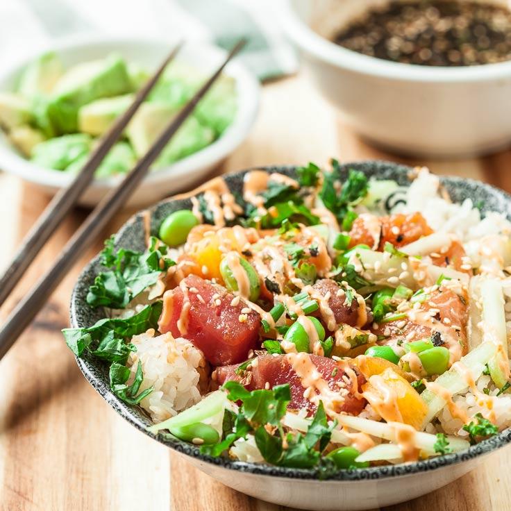 Poke Bowl with Tuna and Salmon