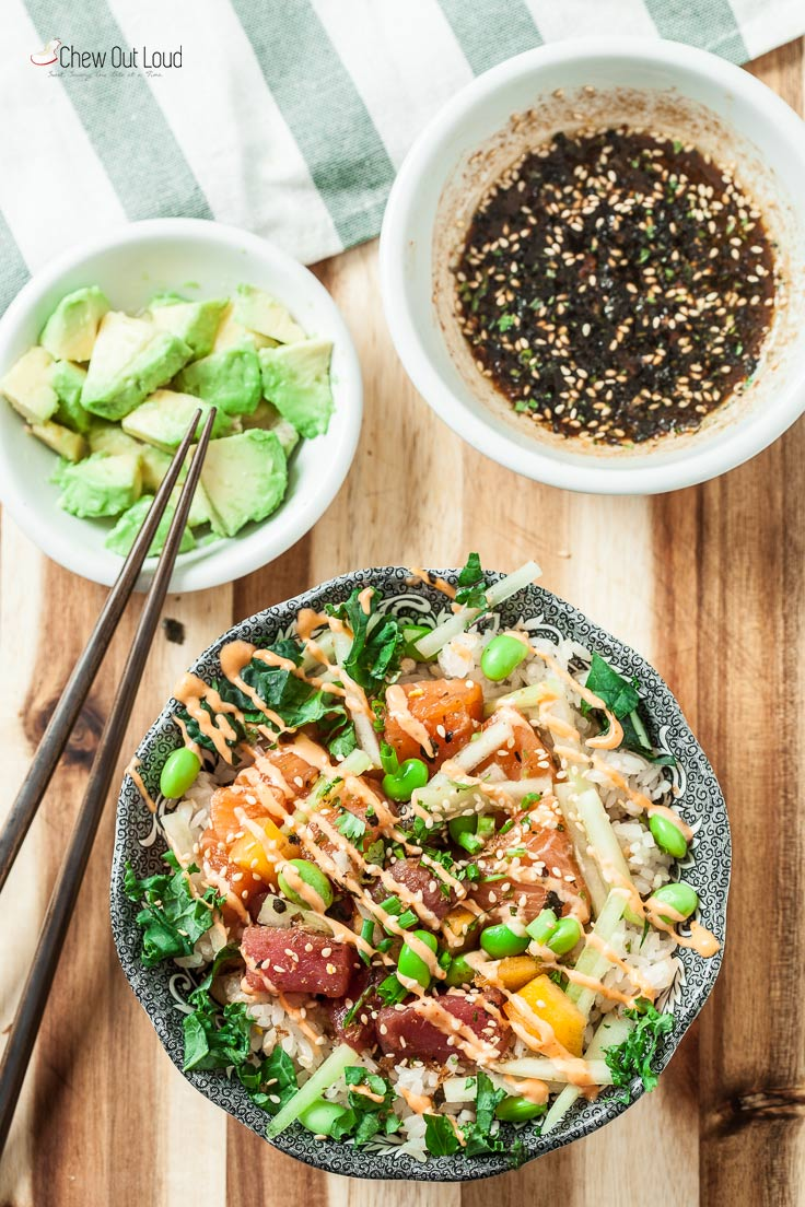 Poke bowl ingredients with salmon and tuna