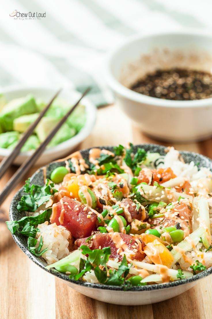 poke bowl recipe in a bowl with sriracha mayo