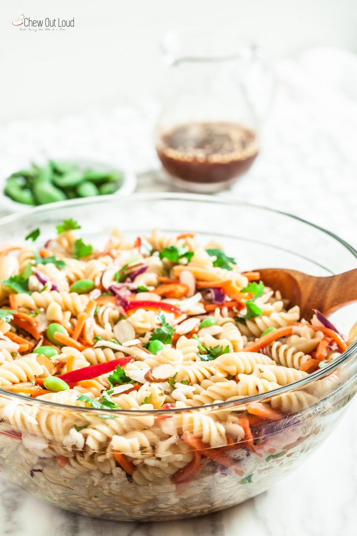 Asian Pasta Salad with Ginger Sesame Dressing