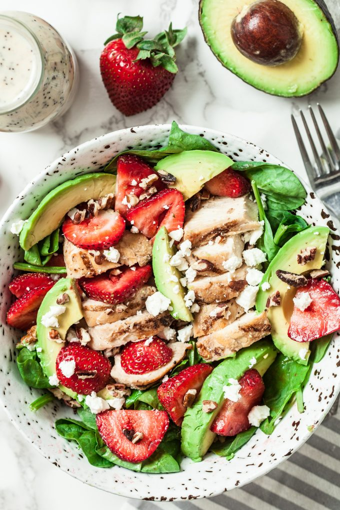 Strawberry Spinach Avocado chicken Salad with Poppyseed Dressing