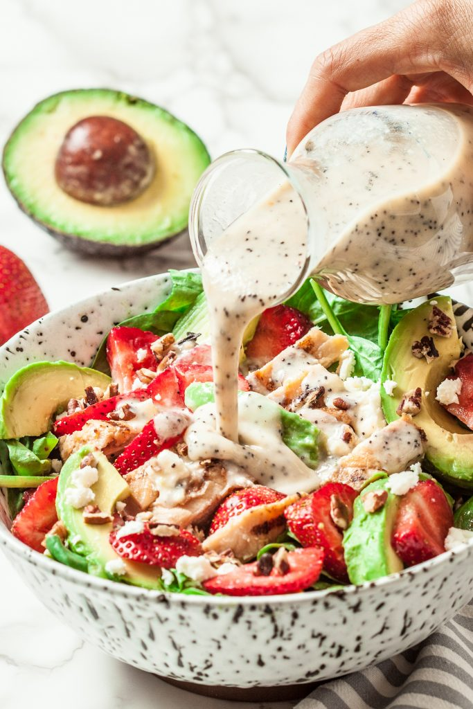 Strawberry Avocado chicken Salad with Poppyseed Dressing