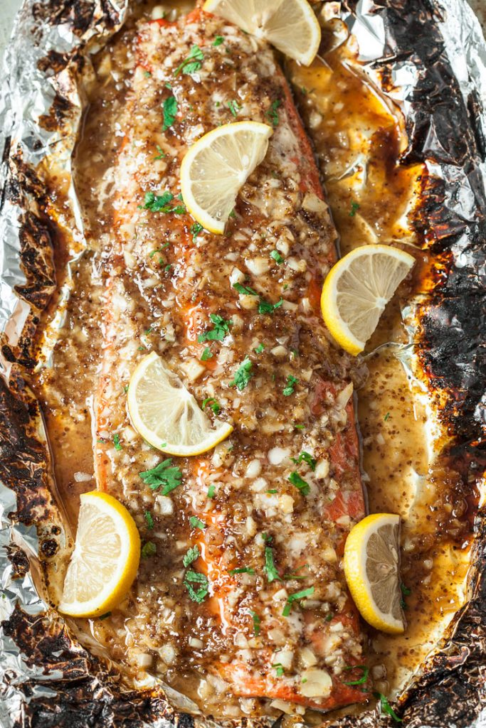 honey baked salmon in foil