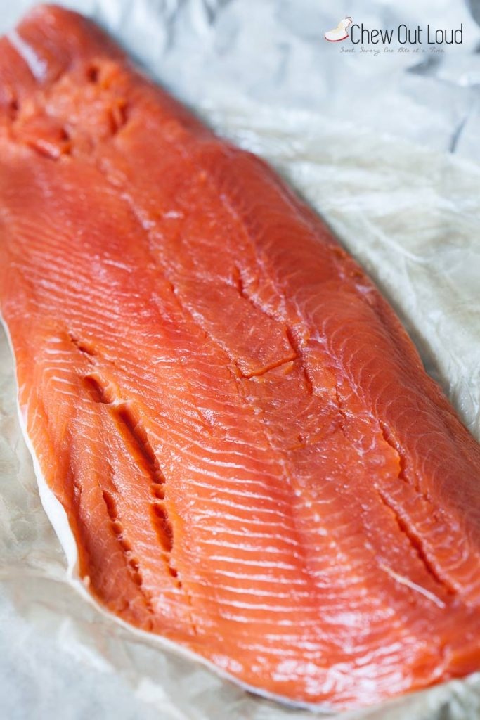 fresh salmon fillet in foil