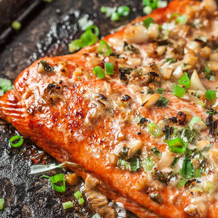 baked salmon with asian marinade on sheet pan