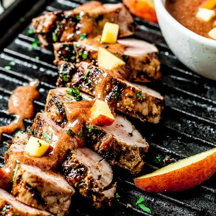 Grilled Pork Tenderloin with Peach BBQ Sauce