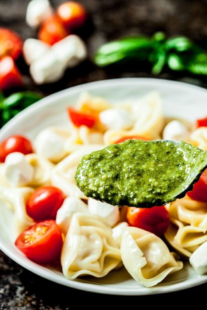 tortellini pasta salad with pesto on a plate