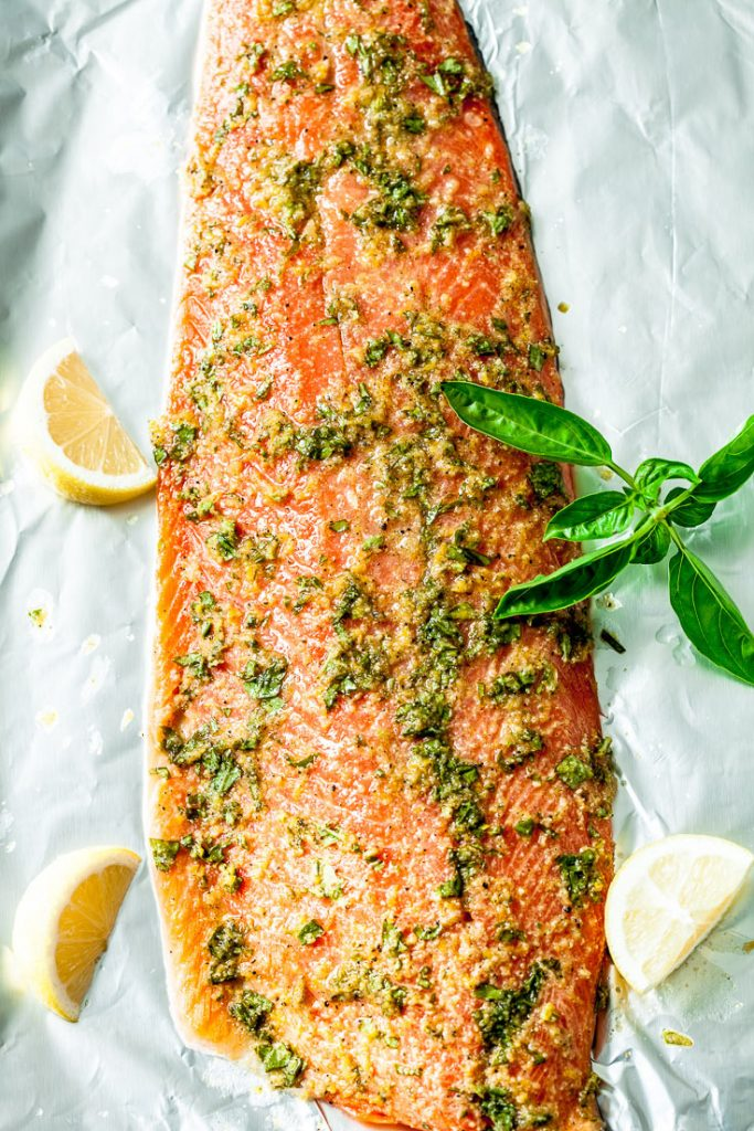easy salmon recipe,  lemon basil salmon, lemon salmon, sheet pan salmon