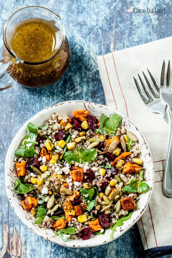 fall salad recipe quinoa salad recipe sweet potato recipe salad maple vinaigrette quinoa sweet potato salad