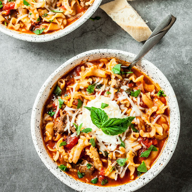 lasagna soup in a bowl with spoon