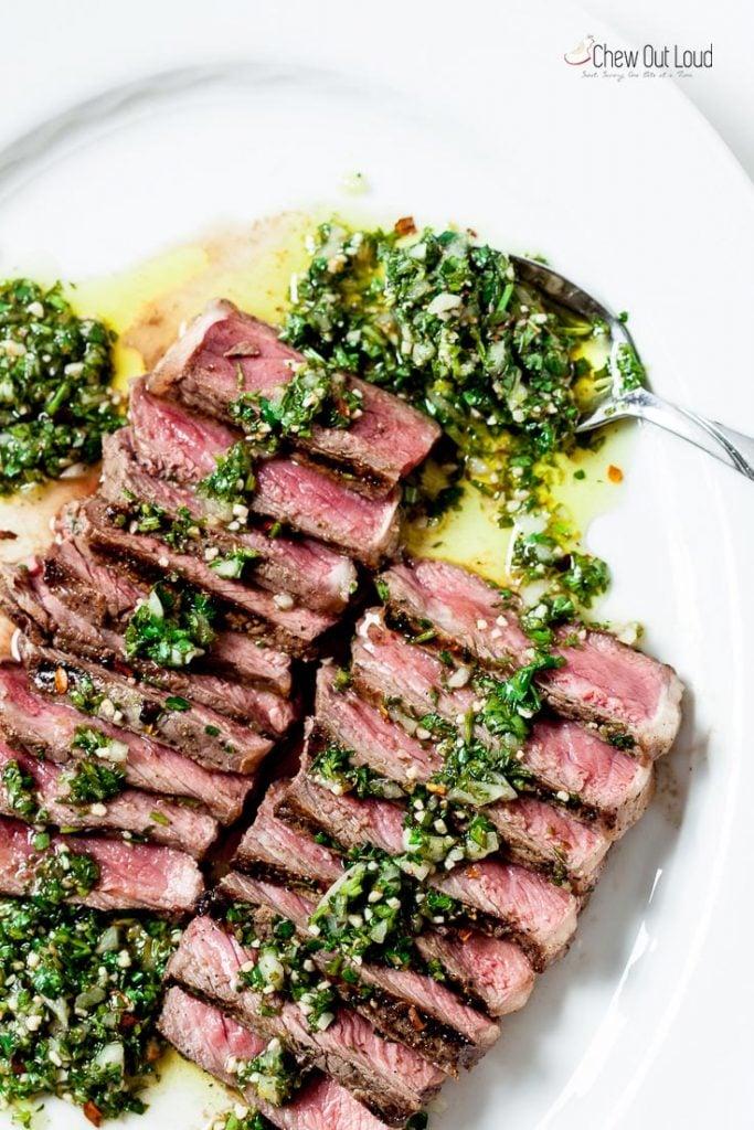 grilled steak recipe, steak recipe, steak with chimichurri sauce