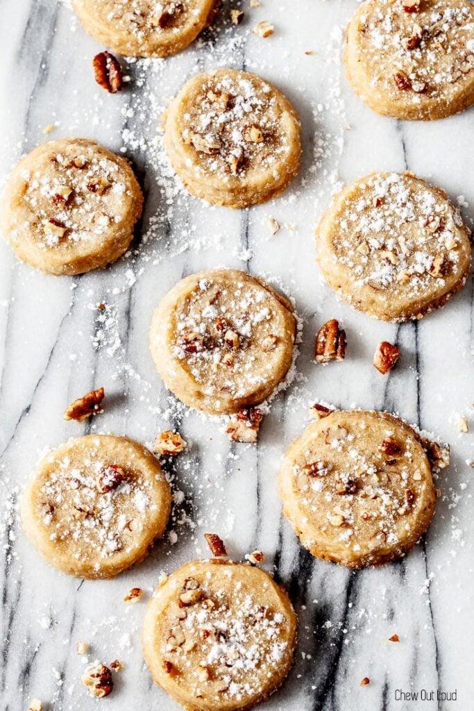 pecan sandies, pecan shortbread cookies, pecan cookies