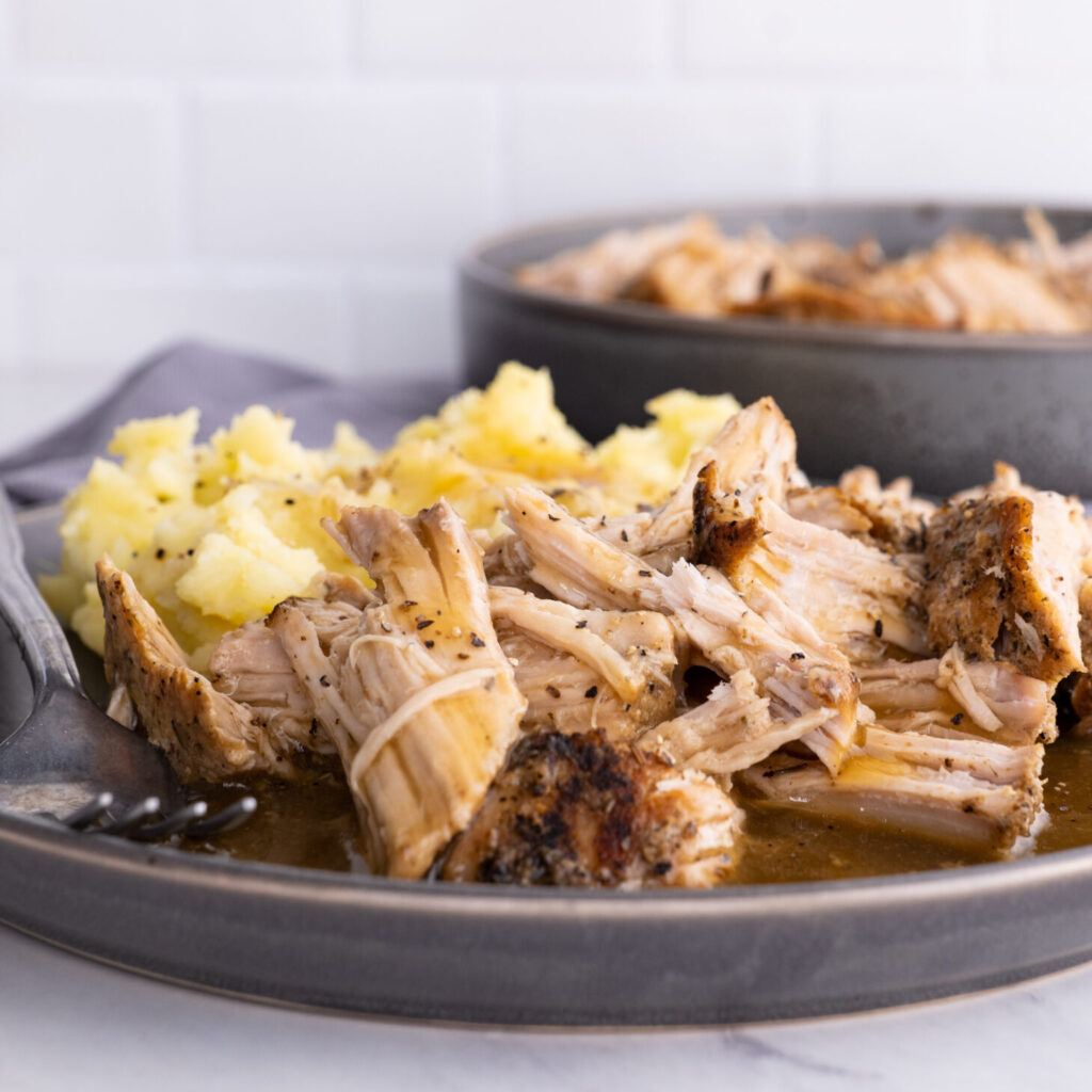 Slow Cooker Pork Loin with Gravy and Mashed Potatoes