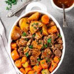 Instant Pot Beef Pot Roast in White Dish