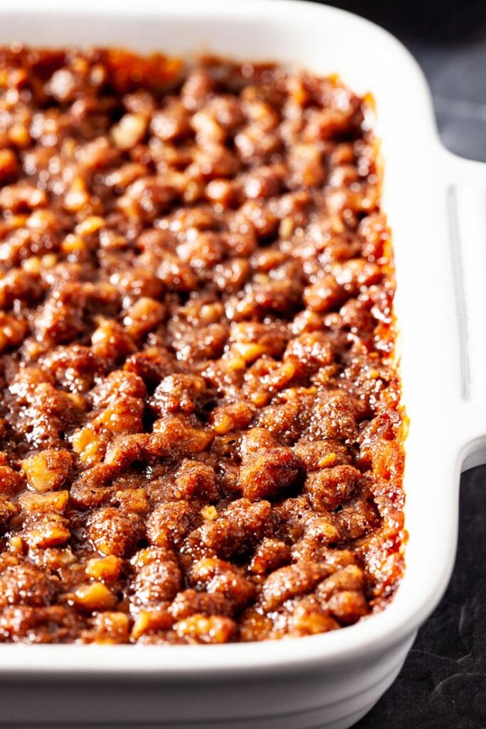 Sweet Potato Casserole with Pecan Streusel in White Dish