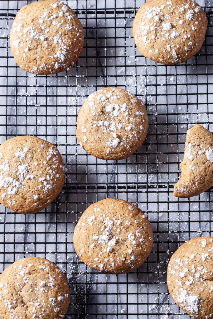 Brown Sugar Cookies with powdered sugar