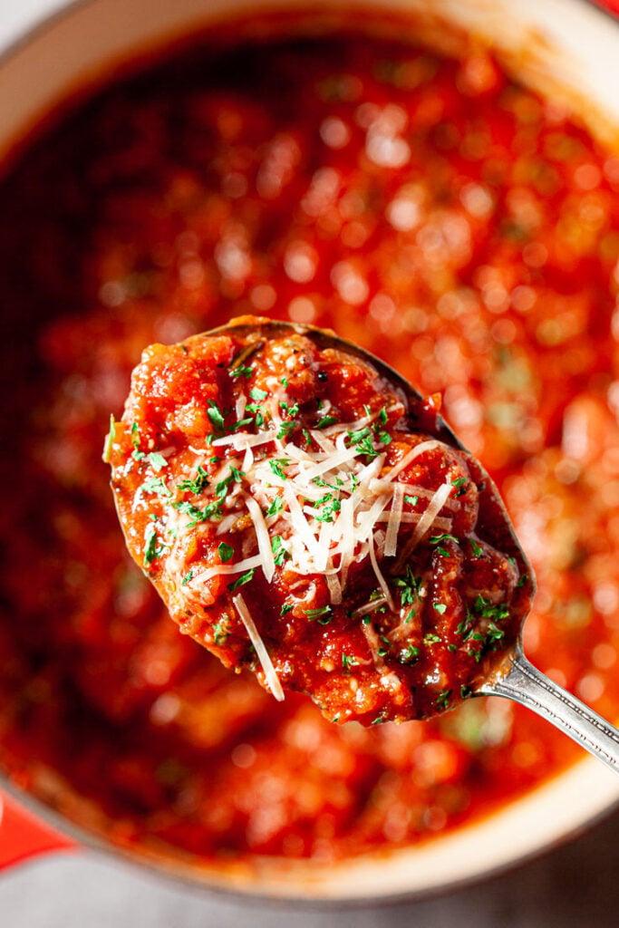 homemade spaghetti sauce on spoon