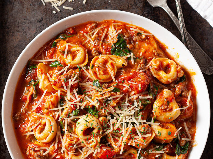 Tuscan Tortellini with Sausage and Spinach