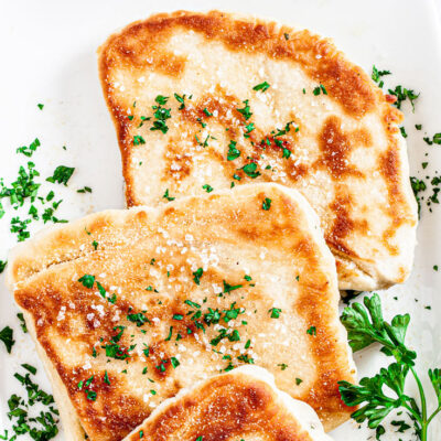 slices of flatbread on white plate