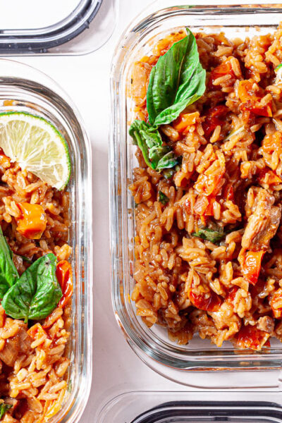 Thai chicken and rice meal prep containers