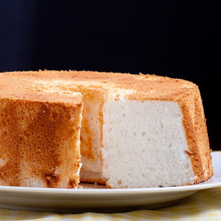 homemade angel food cake on platter