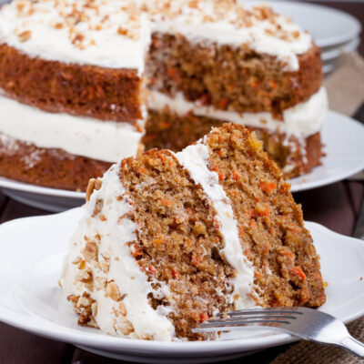 Carrot Cake with Cream Cheese Frosting Square
