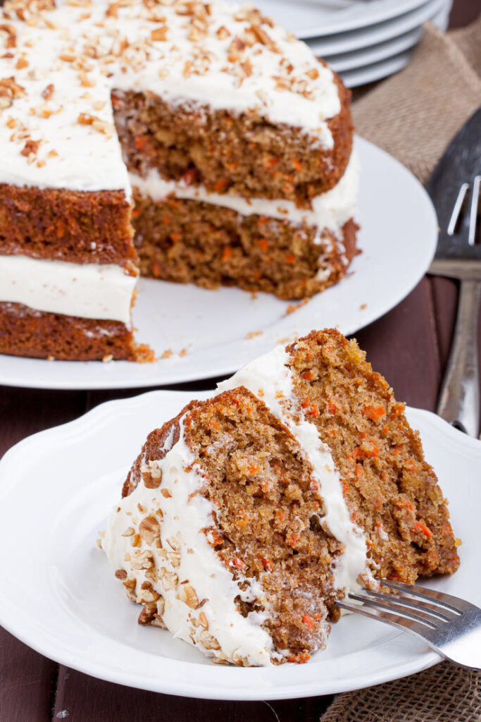 Carrot Cake With Cream Cheese Frosting Slice