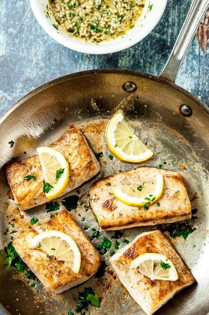 Mahi Mahi with Lemon Butter Sauce in pan
