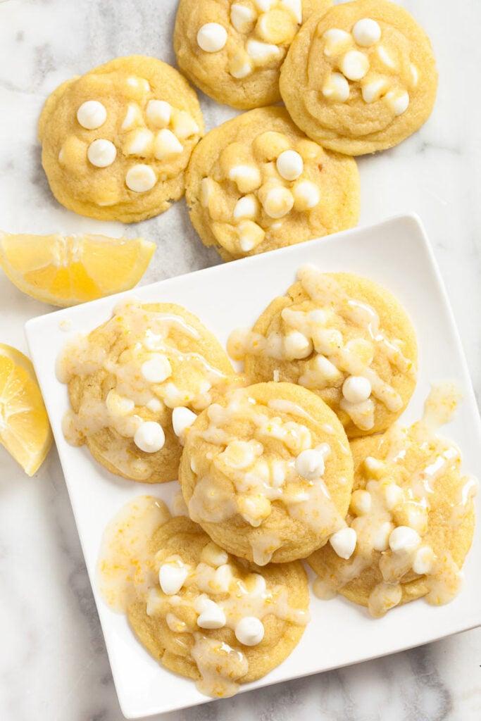 Lemon Pudding Cookies with Lemon Glaze and White Chocolate Chips