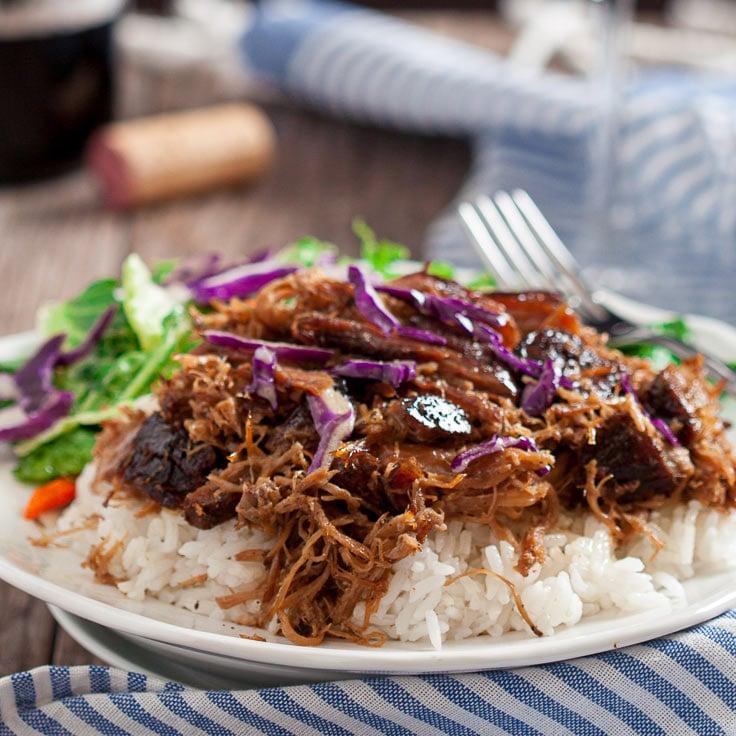 Kalua Pork shredded over rice