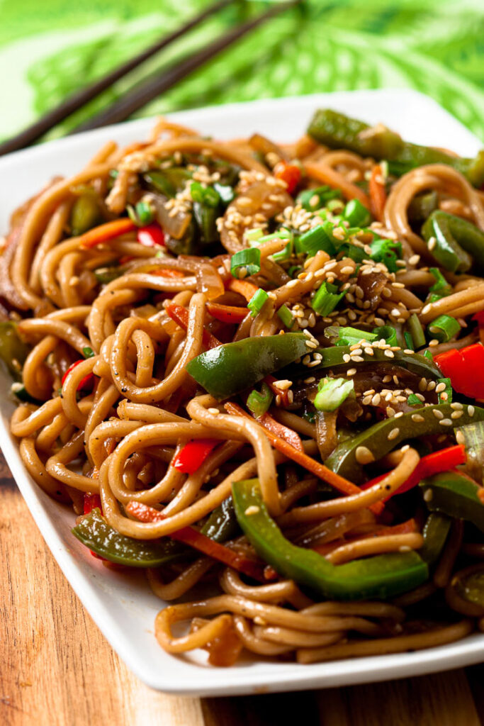 Lo Mein Noodles on a Plate