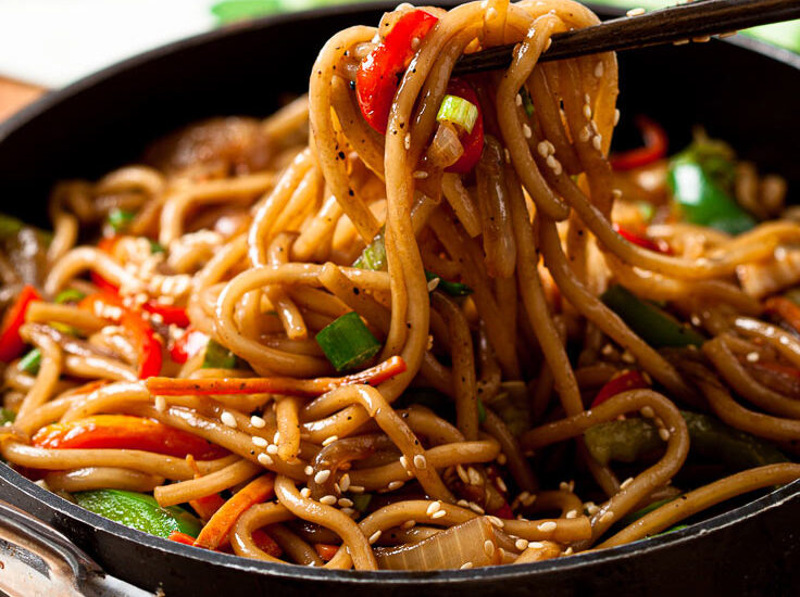 lo mein noodles in a pan