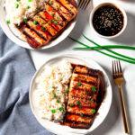 Grilled Teriyaki Salmon with Rice