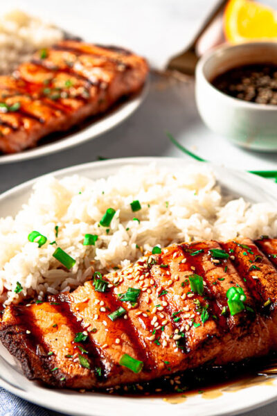 Grilled Salmon with Teriyaki Sauce and Rice