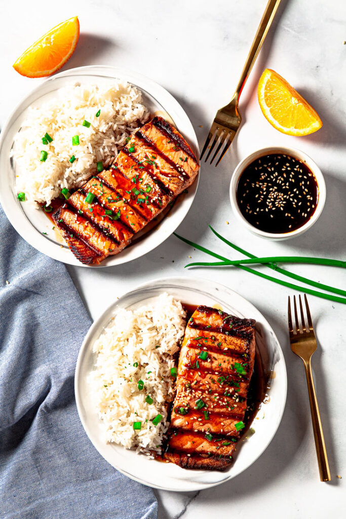 Grilled Salmon with Teriyaki Sauce and white rice