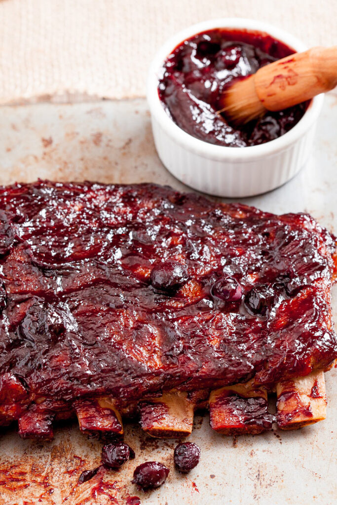 baked ribs with blueberry bbq sauce