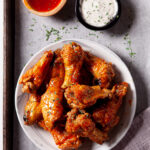 Air Fryer Chicken Wings on white plate square