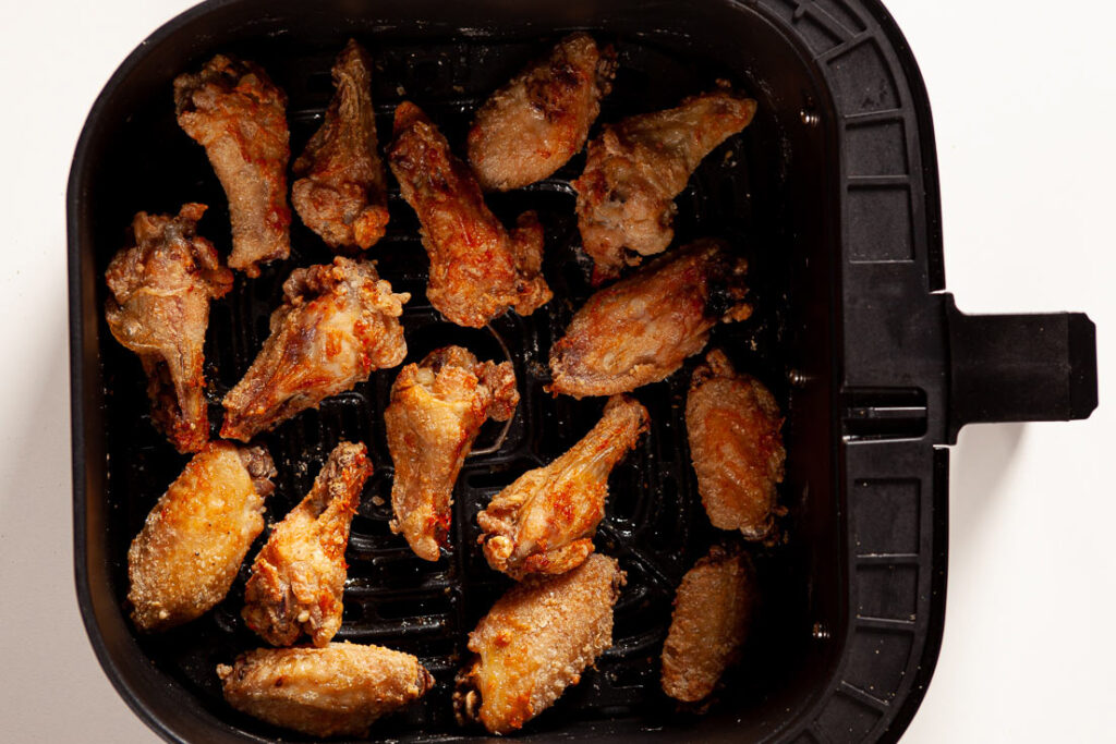 air fryer chicken wings cooked in tray